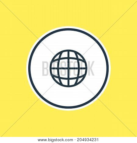 Beautiful Leisure Element Also Can Be Used As Worldwide Element.  Vector Illustration Of Globe Outline.