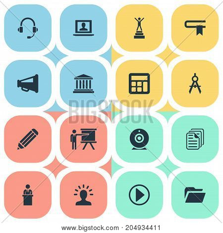 Elements Guidebook, Start, Orator And Other Synonyms Lecturer, Geometry And Guidebook.  Vector Illustration Set Of Simple Training Icons.