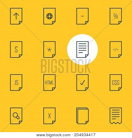 Editable Pack Of Document, Remove, Script And Other Elements.  Vector Illustration Of 16 Paper Icons.