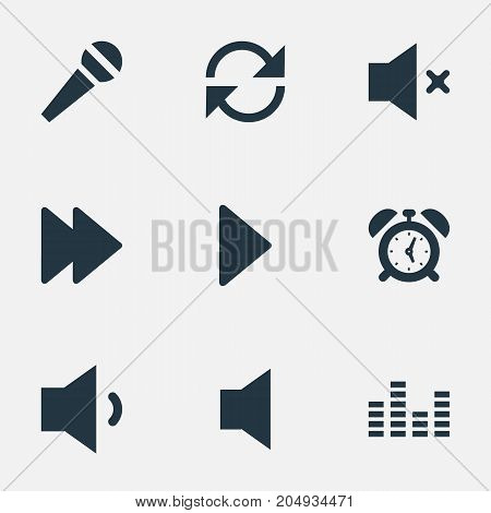 Elements Alarm, Next, Silent And Other Synonyms Equalizer, Chart And Microphone.  Vector Illustration Set Of Simple Sound Icons.
