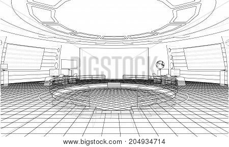 Futuristic office interior. Vector rendering of 3d. Wire-frame style. The layers of visible and invisible lines are separated