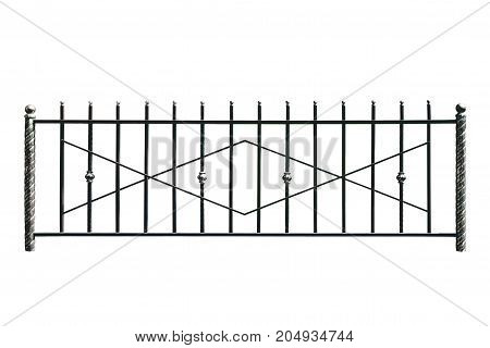 Decorative metal banisters fence in old style. Isolated over white background.