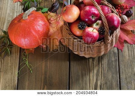 Autumn harvest pumpkin apples in basket colorful autumn leaves on wooden board. Fall still life vintage style. Top view.