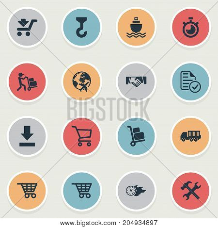 Elements Shipping Vehicle, Time In Fire, Shopping Trolley And Other Synonyms Cart, Measure And Airport.  Vector Illustration Set Of Simple Systematization Icons.
