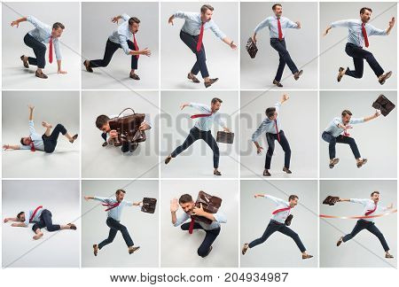 Businessman running with a briefcase on gray studio backgroun. Collage and conceptual image about overcoming difficulties in business