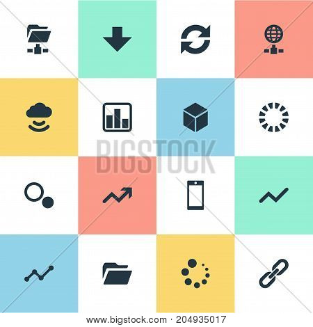 Elements Preloader, Refresh, Chain And Other Synonyms Related, Network And Comparison.  Vector Illustration Set Of Simple Data Icons.