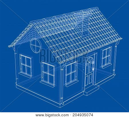 A small house with shingles roof. Vector rendering of 3d. Wire-frame style. The layers of visible and invisible lines are separated