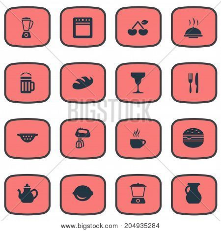 Elements Wheat, Juicer, Whisk And Other Synonyms Sandwich, Beer And Fruits.  Vector Illustration Set Of Simple Gastronomy Icons.