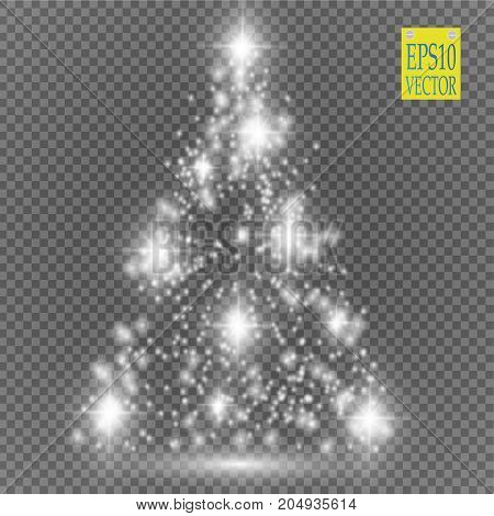 Christmas Tree made, White glitter bokeh lights and sparkles. Shining star, sun particles and sparks with lens flare effect on transparent background. Vector