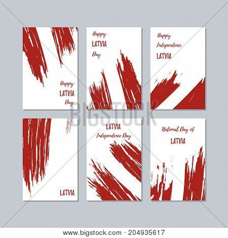 Latvia Patriotic Cards For National Day. Expressive Brush Stroke In National Flag Colors On White Ca
