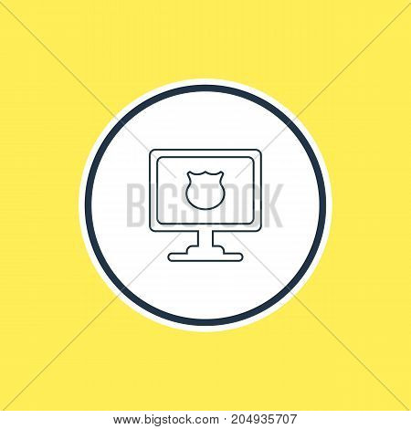 Beautiful Computer Element Also Can Be Used As Antivirus Element.  Vector Illustration Of Protected PC Outline.