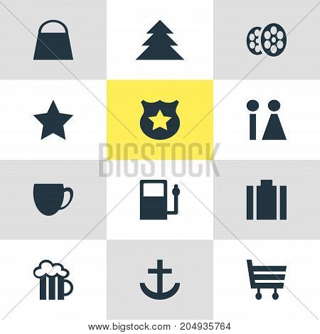 Editable Pack Of Coffee Shop, Jungle, Cop And Other Elements.  Vector Illustration Of 12 Map Icons.