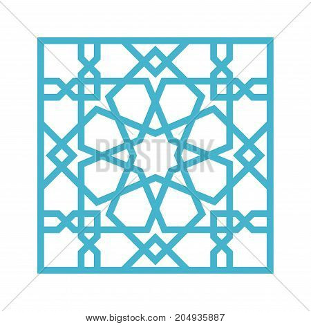 Islamic pattern. Tile with blue arabic geometric pattern, east ornament, indian ornament, persian motif