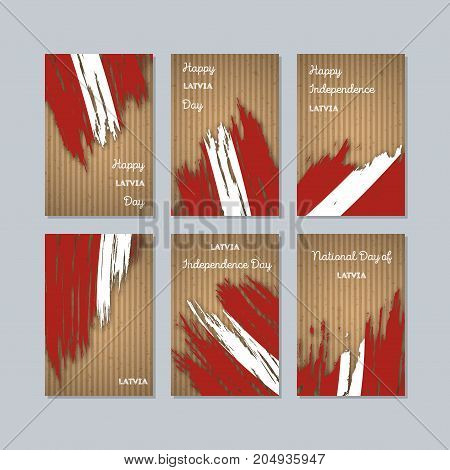 Latvia Patriotic Cards For National Day. Expressive Brush Stroke In National Flag Colors On Kraft Pa