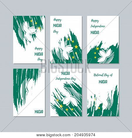 Macao Patriotic Cards For National Day. Expressive Brush Stroke In National Flag Colors On White Car