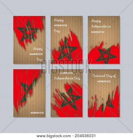 Morocco Patriotic Cards For National Day. Expressive Brush Stroke In National Flag Colors On Kraft P