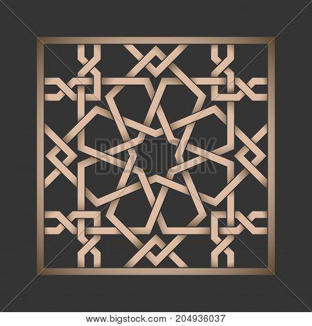 Islamic pattern on dark background. Tile with metallic arabic geometric pattern, east ornament, indian ornament, persian motif