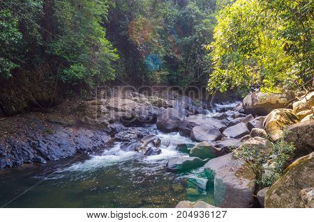 Scenery In Khao Sok National Park In Thailand. Khao Sok National Park The Rain Jungle Forest In Sura