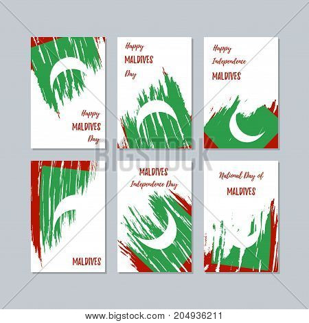Maldives Patriotic Cards For National Day. Expressive Brush Stroke In National Flag Colors On White