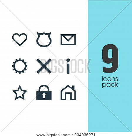 Editable Pack Of Info, Heart, Cogwheel And Other Elements.  Vector Illustration Of 9 User Icons.