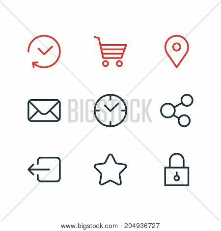 Editable Pack Of Share, Letter, Rating And Other Elements.  Vector Illustration Of 9 App Icons.