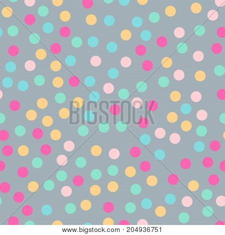 Colorful Polka Dots Seamless Pattern On Bright 3 Background. Unusual Classic Colorful Polka Dots Tex