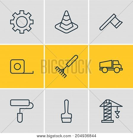 Editable Pack Of Measure Tape, Lifting, Harrow And Other Elements.  Vector Illustration Of 9 Industry Icons.