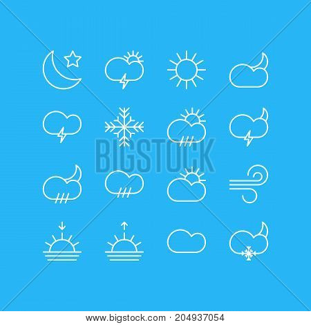 Editable Pack Of Sunset, Moon Month, Sunrise And Other Elements.  Vector Illustration Of 16 Atmosphere Icons.