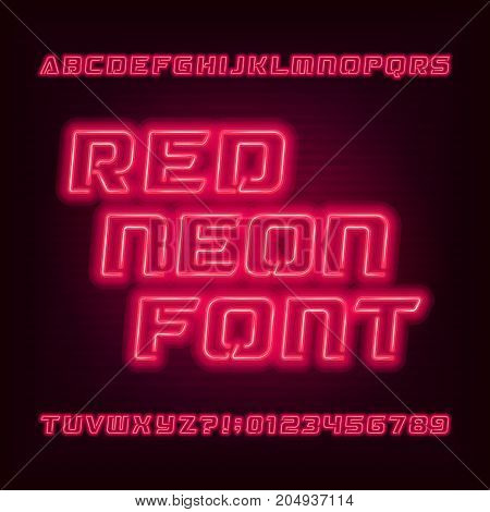 Red neon tube alphabet font. Neon color oblique letters and numbers. Stock vector typeface for your headers or any typography design.