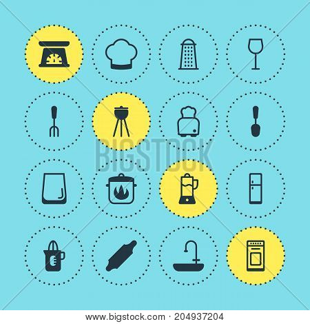 Editable Pack Of Tablespoon, Fork, Shaker And Other Elements.  Vector Illustration Of 16 Cooking Icons.