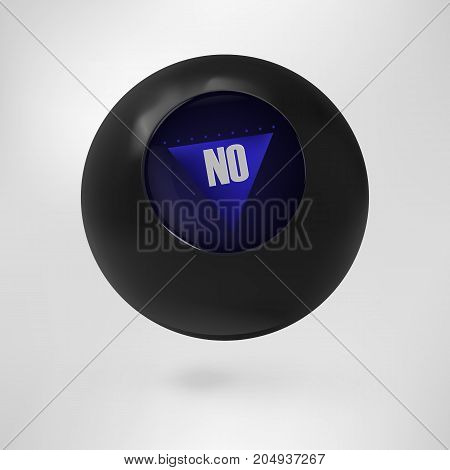 The magic ball of predictions for decision-making. Vector illustration Magic 8 ball. Answer No. EPS 10