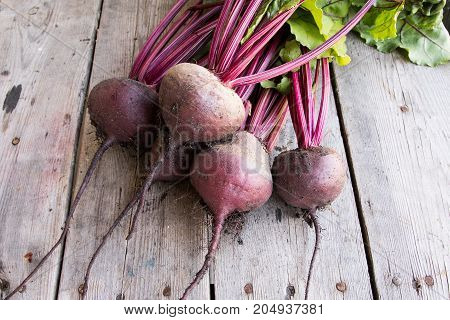 Red Beetroot With Herbage Green Leaves On Rustic Background. Organic Beetroot