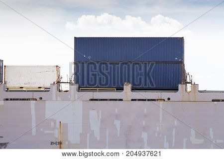 Industrial business loading containers shipping in the harbor