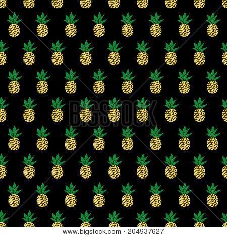 Seamless pattern with pineapples on black background. Cute vector background. Bright summer fruits illustration. Fruit mix design for fabric and decor.Funny wallpaper for textile and fabric.