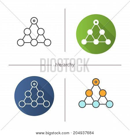 Hierarchy symbol icon. Flat design, linear and color styles. Team building and structure concept. Isolated vector illustrations