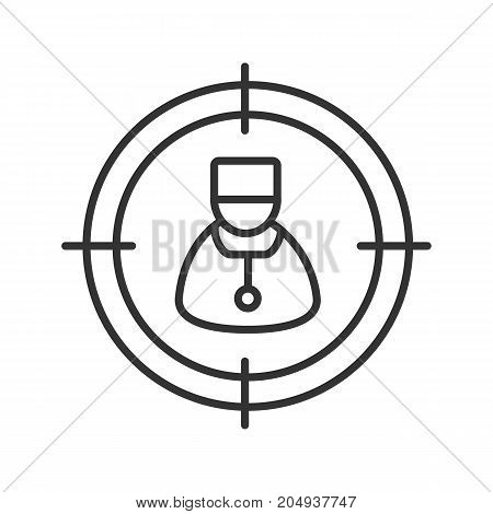 Searching for doctor linear icon. Medical care service thin line illustration. Aim on medic contour symbol. Vector isolated outline drawing