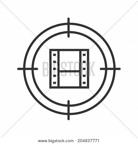 Video files searching linear icon. Movie production thin line illustration. Aim on video tape line. Finding videographer contour symbol. Vector isolated outline drawing