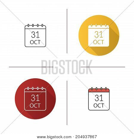 Halloween date icon. Flat design, linear and color styles. World Savings Day. Thirty first of October. Isolated vector illustrations