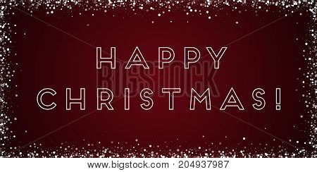 Happy Christmas Greeting Card. Random Falling White Dots Background. Random Falling White Dots On Re