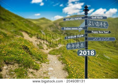 Signpost Whit Happy New Year