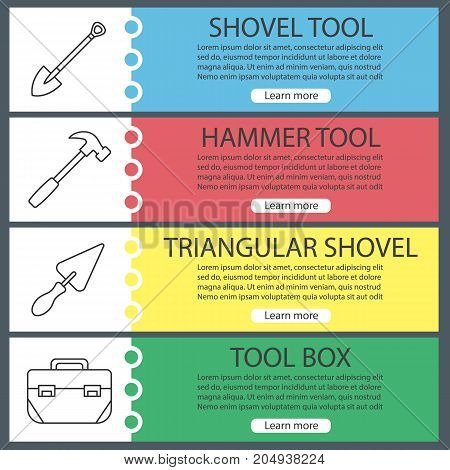 Construction tools web banner templates set. Spade, hammer, triangular shovel, tool box. Website color menu items with linear icons. Vector headers design concepts