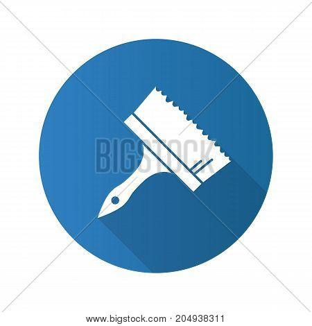 Big paint brush flat design long shadow glyph icon. Vector silhouette illustration