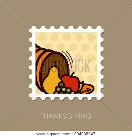 Autumn cornucopia horn of plenty stamp. Harvest. Thanksgiving vector illustration eps 10
