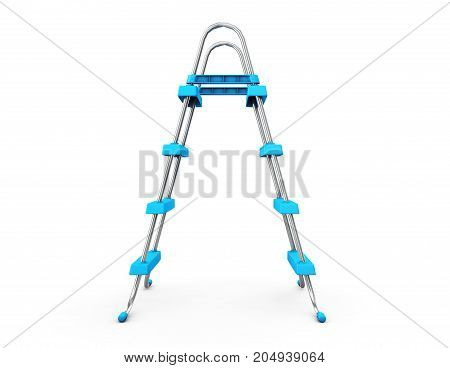 Chrome Swimming Pool Ladders on a white background. 3d Rendering.