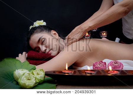 Beautiful Asian Woman Receiving Facial Massage In Spa Salon,healthy Lifestyle