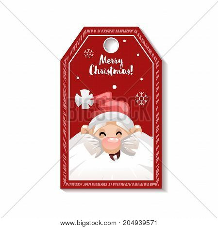 Cartoon looking red Christmas tag or label with laughing Santa Claus in hat. Xmas gift tag invitation banner sale or discount poster.