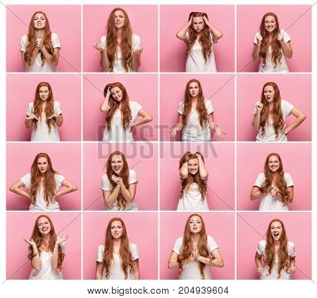 Collage of images of young woman with different facial expressions at studio