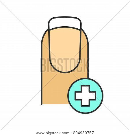 Healthy fingernail color icon. Nails treatment and care. Isolated vector illustration