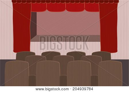 Theater stage with red curtain and brown seats.