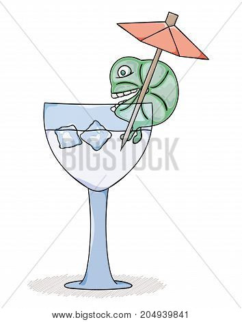 Fresh lemon drink with cold ice. Cartoon illustration.